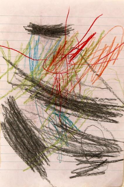 Rozgrzewka ręki przed stworzeniem obrazu. Pan Tadeusz (3 lata). Flamaster, ołówek, brudne ręce z pozostałościami kus-kusu, papier zeszytowy. 21x14 cm