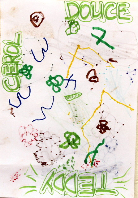 Gwiazdozbór Oriona. Praca zbiorowa. Pan Tadeusz (3 lata), Cerolle (5 lat), Doce (3 lata). Flamaster, papier biurowy, trochę piasku od Pana Tadeusza. 21x29 cm.