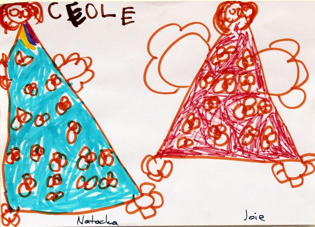 Portret Joie i Nataszy. Cerolle, 5 lat. Flamaster, papier biurowy. 21x29 cm.