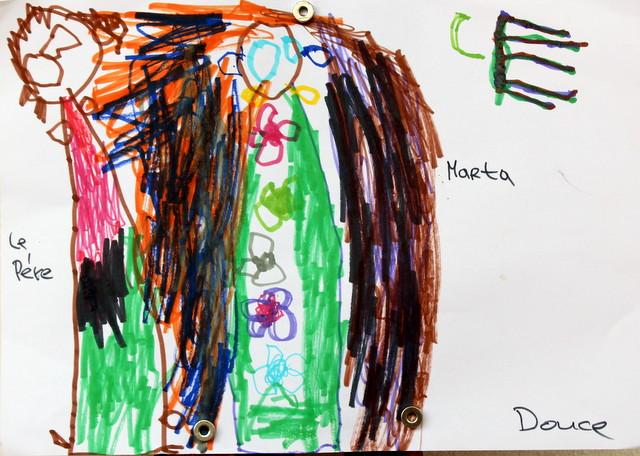 Ojciec Darek i Marta oraz nieudana próba napisania słowa Cerolle. Douce, 3 lata. Flamaster, papier biurowy. 21x29 cm.