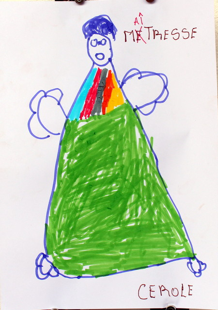 Pani nauczycielka. Cerolle, 5 lat. Flamaster, papier biurowy. 21x29 cm.