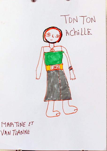 Wujek Achille. Praca grupowa. Martine (11 lat) i Vantianne (3 lata). Flamaster, papier biurowy. 21x29 cm.