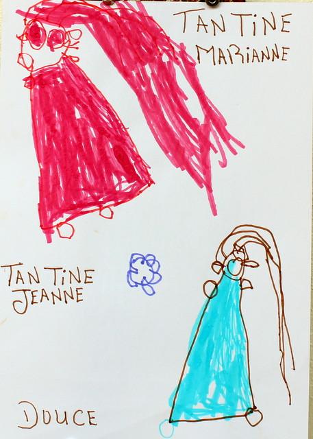 Cioteczka Marianne i cioteczka Jaśka. Douce, 4 lata. Flamaster, papier biurowy. 21x29 cm.