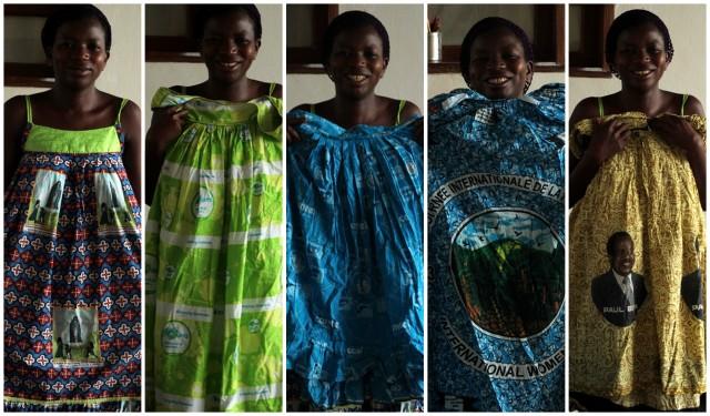 Nasza wychowawczyni przedstawia część swojej kolekcji z pań. Od lewej: rocznica objawienia w Fatimie, 10. rocznica kameruńskich sieci elektrycznych, kameruńska telekomunikacja, 8 marca (2013 r.), Prezydent